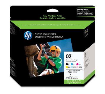 Hewlett Packard Hewlett-Packard Q7964AN HP 02 Ink Cartridge w/150 Photo Sheets BK/CY/MY/YW/LCY/L
