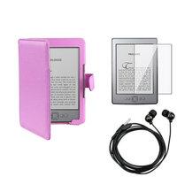 Insten INSTEN Purple Folio Leather Case+Screen Protector+Headphone For Amazon Kindle 4 5 th