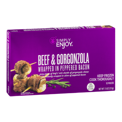 Simply Enjoy Beef & Gorgonzola Wrapped In Peppered Bacon - 12 CT
