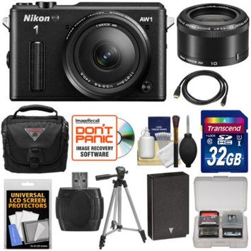 Nikon 1 AW1 Shock & Waterproof Digital Camera Body with AW 11-27.5mm & 10mm Lens (Black) with 32GB Card + Battery + Case + Tripod + Kit