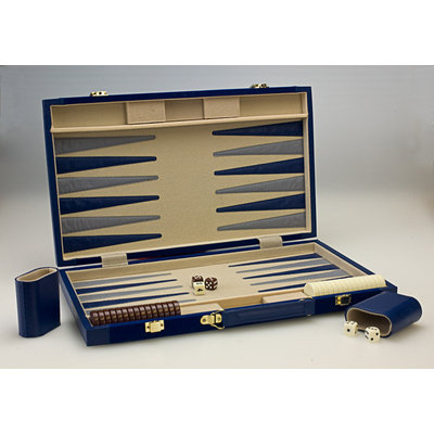 Sunnywood, Inc. Sterling Games 10-Inch Backgammon Set - Navy Blue Suede