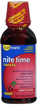 Sunmark Nite Time Cold Flu Liquid, Cherry Flavor 12 oz by Sunmark