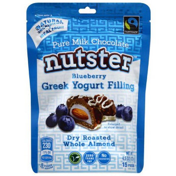 Nutster Pure Milk Chocolate Dry Roasted Whole Almonds with Blueberry Greek Yogurt Filling, 4.5 oz, (Pack of 6)