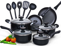 Cook N Home 15 Piece Soft Handle Nonstick Cookware Set