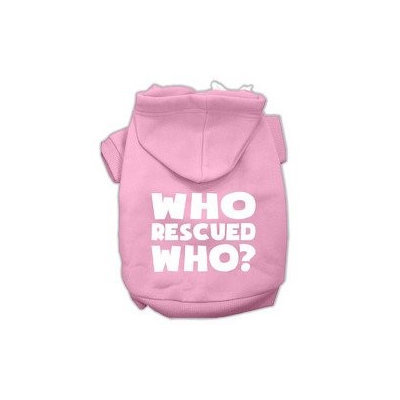Mirage Pet Products Who Rescued Who Screen Print Pet Hoodies Light Pink Size Med (12)