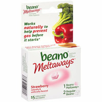 Beano Meltaways Strawberry Food Enzyme Dietary Supplement Single Dose Meltaways