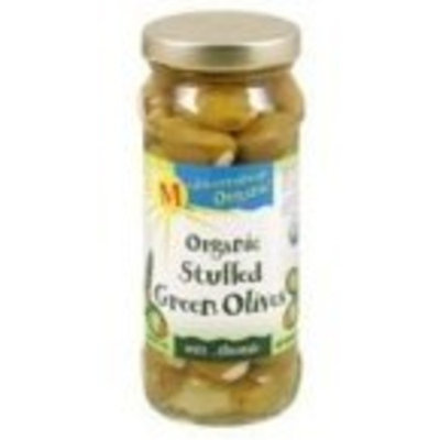 Mediterranean Organic Green Olives Stuffed with Almonds -- 8.5 oz