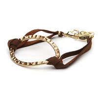 a.v. max Hammered Link And Suede Bracelet