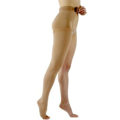 Sigvaris 503WL2077/L Natural Rubber 30-40 mmHg Open Toe Unisex Thigh High Sock with Waist Attachment Size: L2, Leg: Left