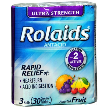 Rolaids Ultra Strength Chewable Tablets, Orange, 30 ea