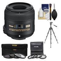 Nikon 40mm f/2.8 G DX AF-S Micro-Nikkor Lens + 7 UV/CPL/ND8 & Close-Up Filters + Macro Tripod + Cleaning Kit for D3100, D3200, D3300, D5100, D5200, D5300, D7000, D7100 DSLR Cameras