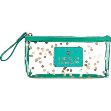 Boulevard I Wake Up for Makeup Pixie Glass Bag Confetti with Mint Leather - Boulevard Ladies Cosmetic Bags