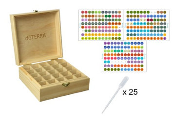 Aroma Designs DoTERRA Wooden Essential Oil Box w DoTERRA Labels & Pipettes- For 5-15ml Bottles