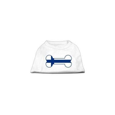 Mirage Pet Products 51-14 MDWT Bone Shaped Finland Flag Screen Print Shirts White M - 12