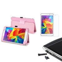 Insten INSTEN Pink Leather Stand Case+AG Protector+Dust Cap For Samsung Galaxy Tab 4 7.0 7