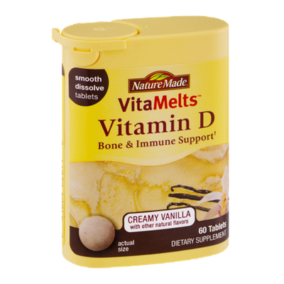 Nature Made VitaMelts Vitamin D Creamy Vanilla Dietary Supplement Tablets - 60 CT