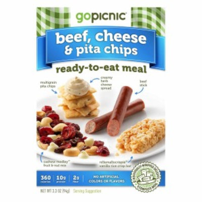 GoPicnic Ready-to-Eat Meal, Beef, Cheese & Pita Chips, 6pks, 1 case
