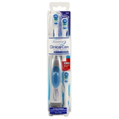 Brushpoint Clinical Care Battery Power Tooth Brush, Metallic Silver with Blue Button