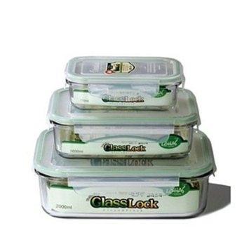 Kinetic Go Green GlassLock Rectangular 3 Piece Storage Container Set