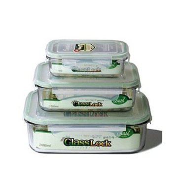 Kinetic Go Green GlassLock Rectangular 3 Piece Storage Container Set