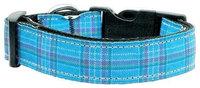 Mirage Pet Products 125013 MDBL Plaid Nylon Collar Blue Medium