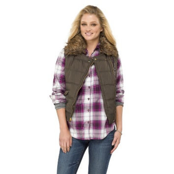 Coffee Shop Women's Puffer Vest with Fur Green S