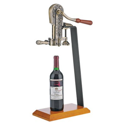 The Wine Enthusiast Legacy Corkscrew with Stand - Bronze/Walnut