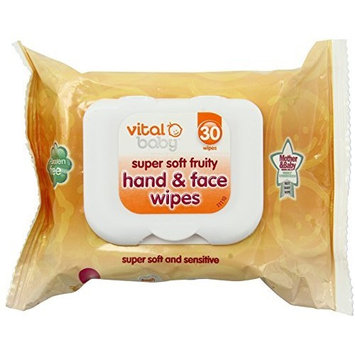 Vital Baby Super Soft Fruity Hand and Face Wipes, 30 Pack