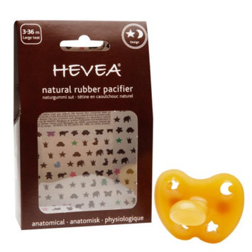 Hevea Natural Rubber Pacifier, 3-36 Months Large, Star & Moon, 1 ea