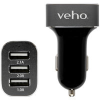 Veho Car USB Charger for iPhone and All Smartphones - Retail Packaging - Black Triple USB 5V 5.1A Car Charger
