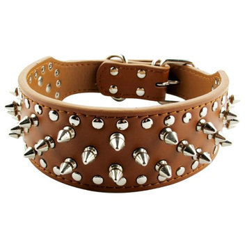 Pds Online Spikes & Studs Durable PU Leather Brown Extra Pet Dog Collar - 3 Rows of Spikes