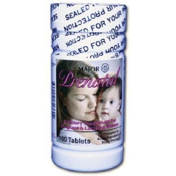 Major Pharmaceuticals Major Prenatal Vitamins, 100 Tabs, Dietary Suppliement for Pregnant & Lactating Women - Compare to Stuart Prenatal