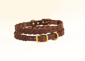 Tory Leather Laced Dog Collar 20 Inch Havana