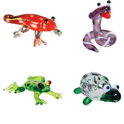 BrainStorm Looking Glass Miniature Glass Figurines, 4-Pack, Gecko/Cobra/Dart Frog/Tortoise