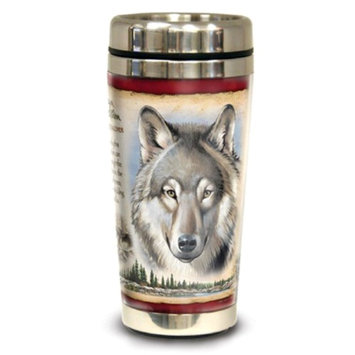 American Expedition Wildlife Steel Travel Mug - Gray Wolf