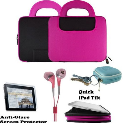 Deluxe Nylon & Neoprene Flip Book Jacket/Folio for Apple iPad 3G tablet/Wifi model 16GB, 32GB, 64GB + Includes a 4-inch eBigValue (TM) Determination Hand Strap + iPad Touch Anti Glare Screen Protector Guard (Compatible with all Versions of iPad) + Also includes a set of Fashion Earbud Headset Headphones 3.5mm Jack In-Ear Stereo + Includes an earphone case Clamshell Style with Zipper Enclosure, Inner Pocket, and Durable Exterior!