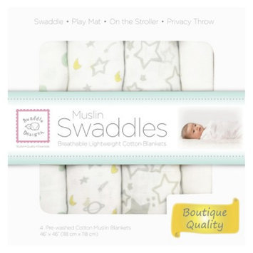 SwaddleDesigns 4pk Muslin Swaddle Blankets - Goodnight Starshine -