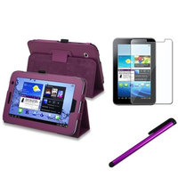 Insten INSTEN Purple Folio PU Leather Case Cover Stand For Samsung Galaxy Tab 2 7.0