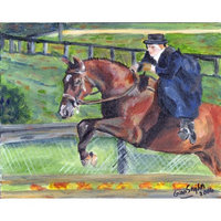 Olde Time Mercantile Sidesaddle Horse Portrait Matted Art Print - 5 in x 7 in Design - 8 in x 10 in Matted