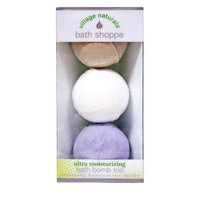 Village Naturals Bath Shoppe Bath Bomb Trio (Lavender, Vanilla & White Tea) 5.28 oz