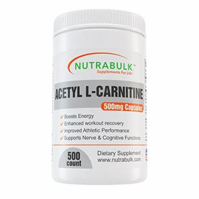 Acetyl L-Carnitine Best Workout Recovery Capsules - Pre + Intra + Post Workout Supplement - NutraBulk 100% Pharmaceutical Grade - 500mg - 500 Count