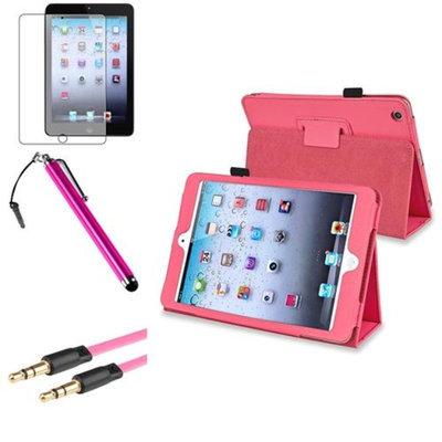 Insten iPad Mini 3/2/1 Case, by INSTEN Hot Pink Leather Case Stand Cover+AG Shield for iPad Mini 3 2 1