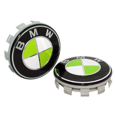 StatiCap BMW Wheel Center Cap Hub Floating Self Leveling with embossed BMW Lime Green logo 68 mm