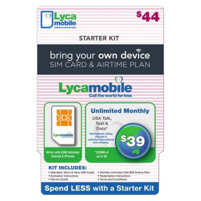 Interactive Communication Lycamobile $44.00 Dual SIM Bundle Pre-paid Cell Phone Card