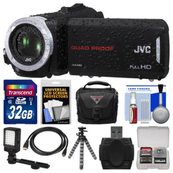 JVC Everio GZ-R30 Quad Proof Full HD Digital Video Camera Camcorder with 32GB Card + Case + LED Light + Flex Tripod + Kit