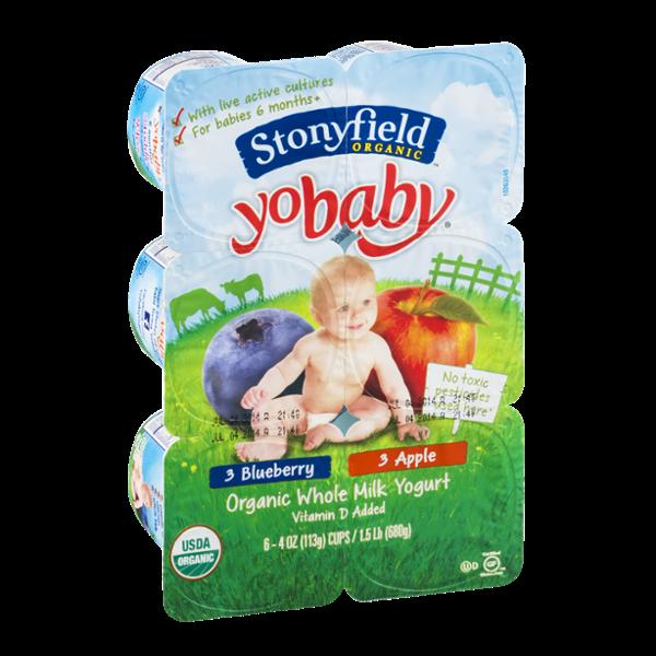 Stonyfield Organic YoBaby Organic Whole Milk Yogurt Cups Blueberry and Apple - 6 CT