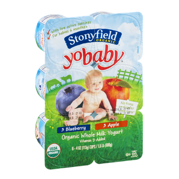 Stonyfield Organic YoBaby Organic Whole Milk Yogurt Cups Blueberry and Apple - 6 CT