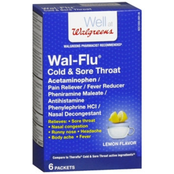 Walgreens Wal-Flu Cold & Sore Throat Powder Packets, Lemon, 6 ea
