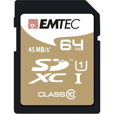 Dexxxon Digital Storage Emtec - 64GB Sdxc Class 10 Memory Card - Black/gold