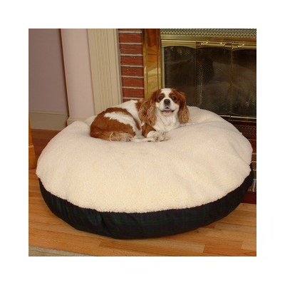 Snoozer Round Pillow Pet Bed, Black Snoozer with Fur, Small, Bubbles Print